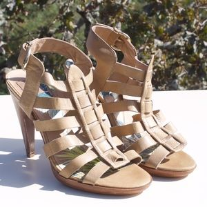 Dolce Vita Tan Strappy Leather Heels Sandals 10